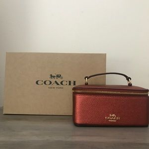 Coach Red Metallic Vanity Case NWT